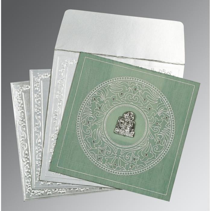 Green Wooly Screen Printed Wedding Card : G-8214P - 123WeddingCards