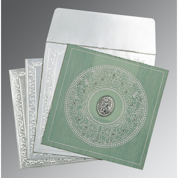Green Wooly Screen Printed Wedding Card : I-8214P - 123WeddingCards