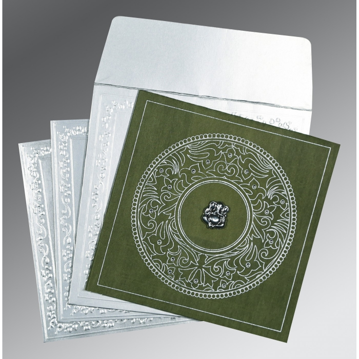 Green Wooly Screen Printed Wedding Invitations : IN-8214L - 123WeddingCards