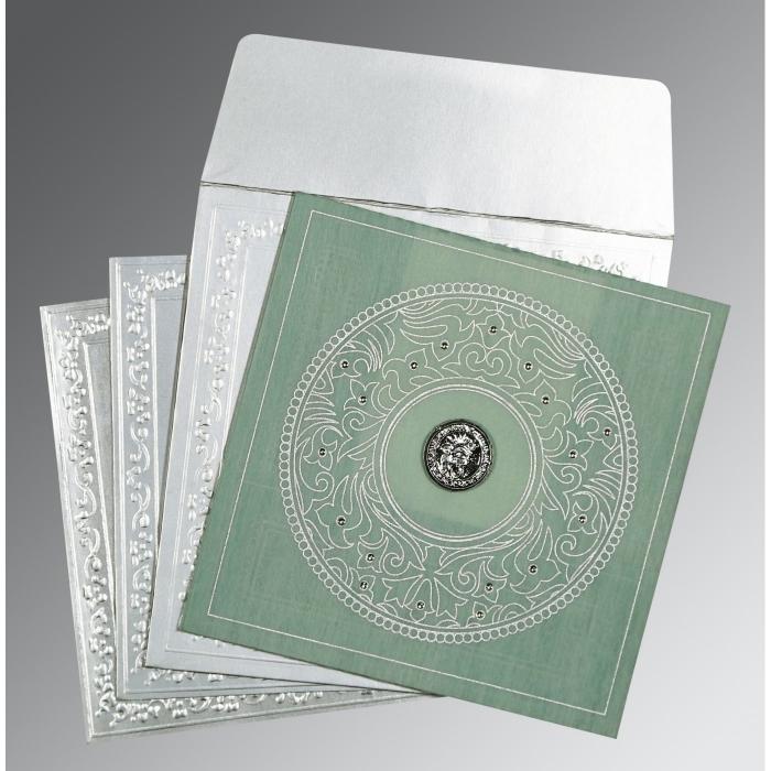 Green Wooly Screen Printed Wedding Card : RU-8214P - 123WeddingCards