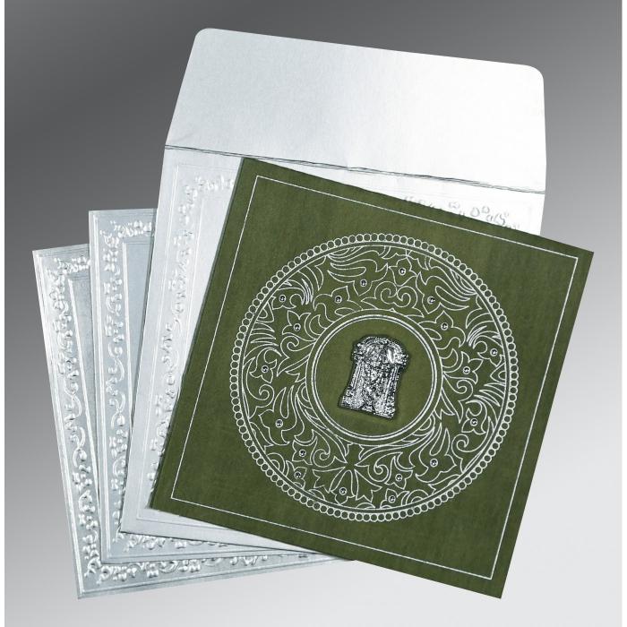 Green Wooly Screen Printed Wedding Card : SO-8214L - 123WeddingCards