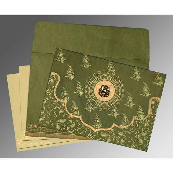 Green Wooly Screen Printed Wedding Invitation : W-8207H - 123WeddingCards