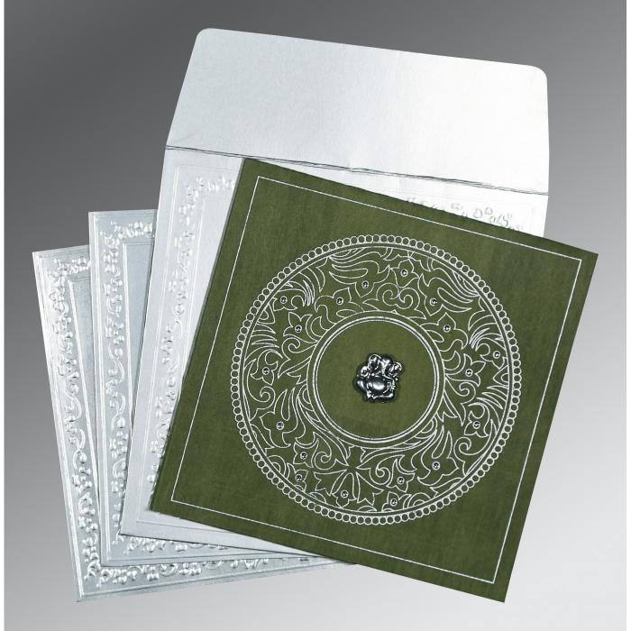 Green Wooly Screen Printed Wedding Card : W-8214L - 123WeddingCards