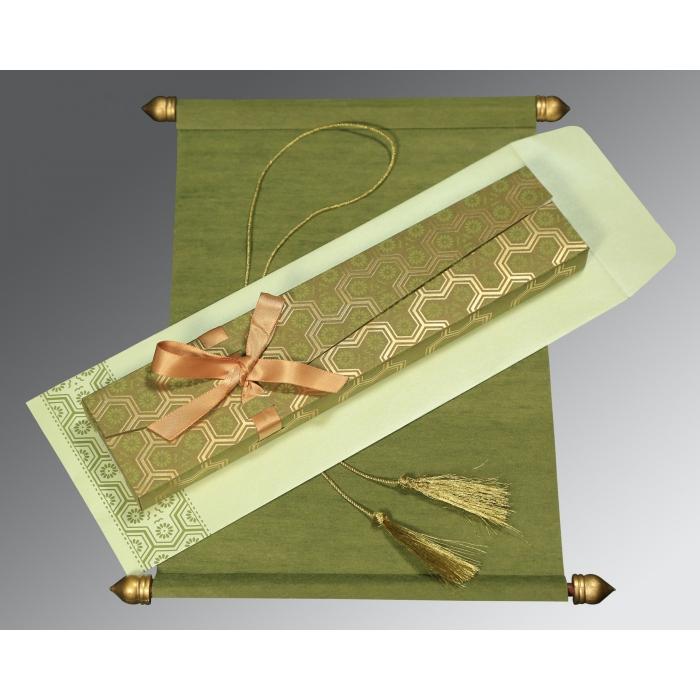 Green Wooly Wedding Card : SC-5014A - 123WeddingCards
