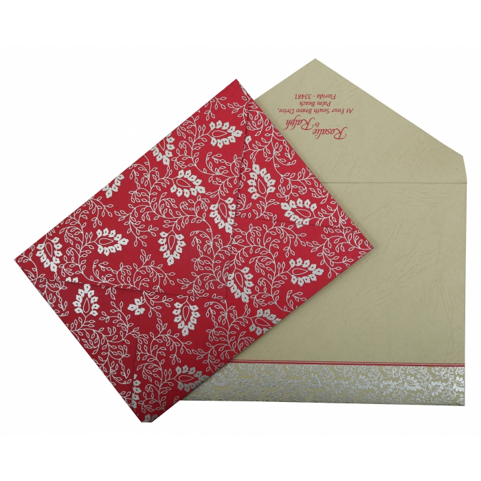 HOT PINK MATTE PAISLEY THEMED - SCREEN PRINTED WEDDING INVITATION : IN-811E - 123WeddingCards
