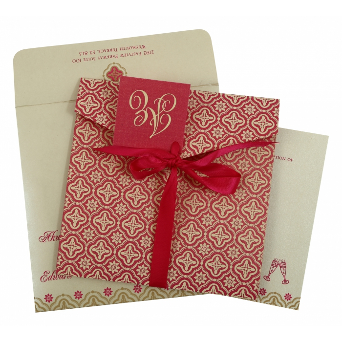 HOT PINK SHIMMERY SCREEN PRINTED WEDDING INVITATION : IN-805A - 123WeddingCards