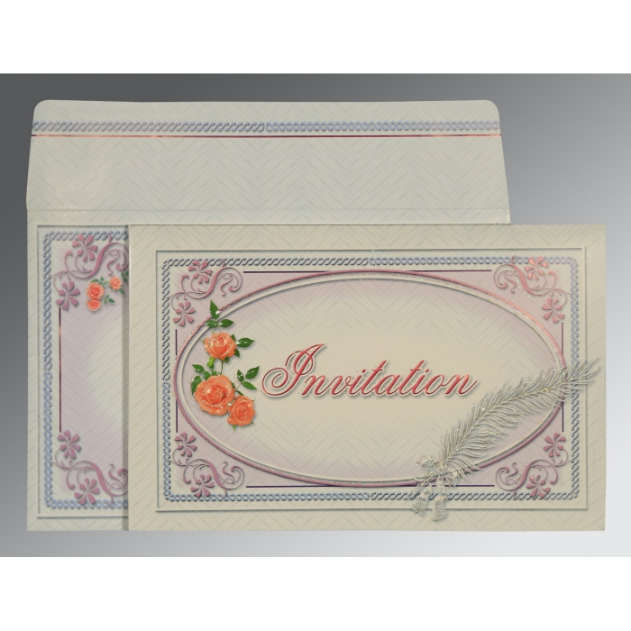 Ivory Embossed Wedding Card : D-1327 - 123WeddingCards