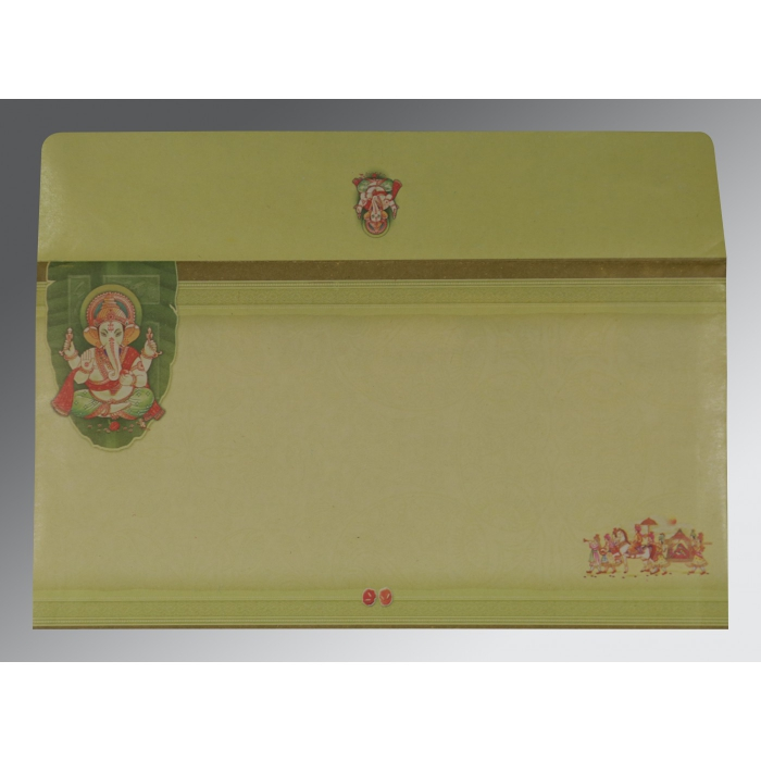 LIGHT GREEN EMBOSSED WEDDING CARD : W-2226 - 123WeddingCards