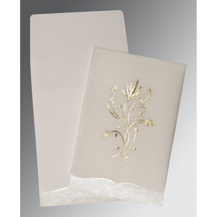 Ivory Floral Themed - Foil Stamped Wedding Card : C-1495 - 123WeddingCards