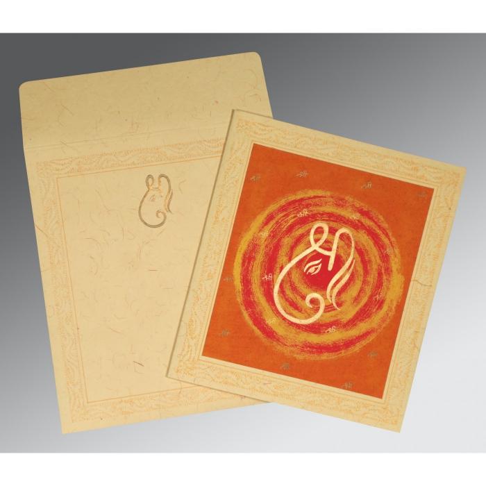 Ivory Handmade Cotton Embossed Wedding Card : IN-2162 - 123WeddingCards