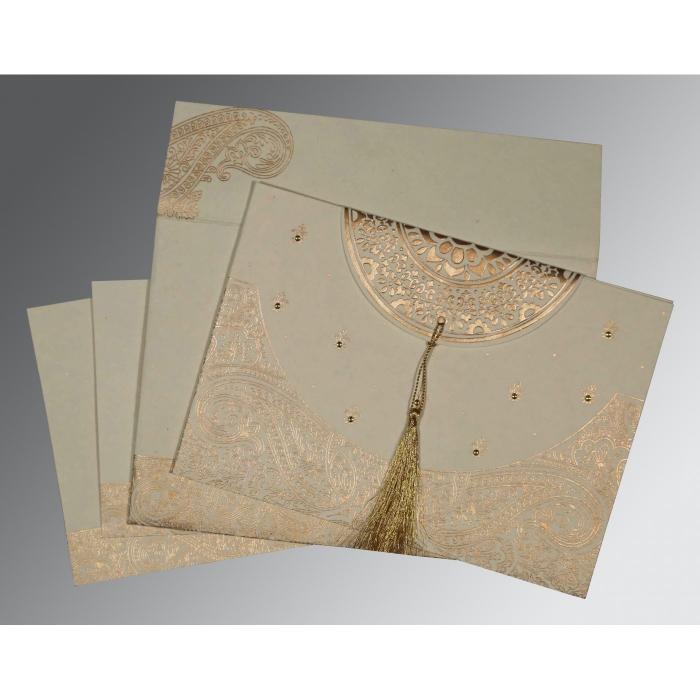 Ivory Handmade Cotton Embossed Wedding Card : RU-8234B - 123WeddingCards
