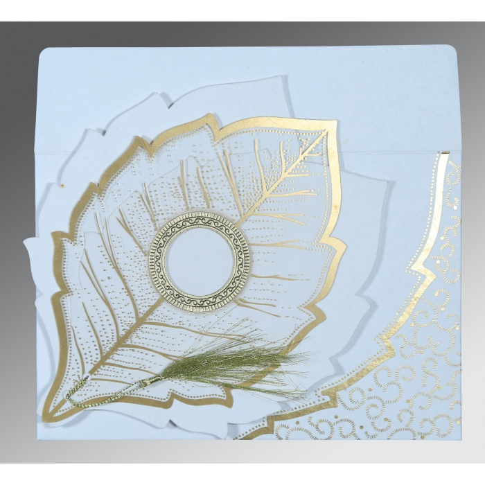 WHITE TRANSPARENT HANDMADE COTTON FLORAL THEMED - FOIL STAMPED WEDDING CARD : C-8219H - 123WeddingCards