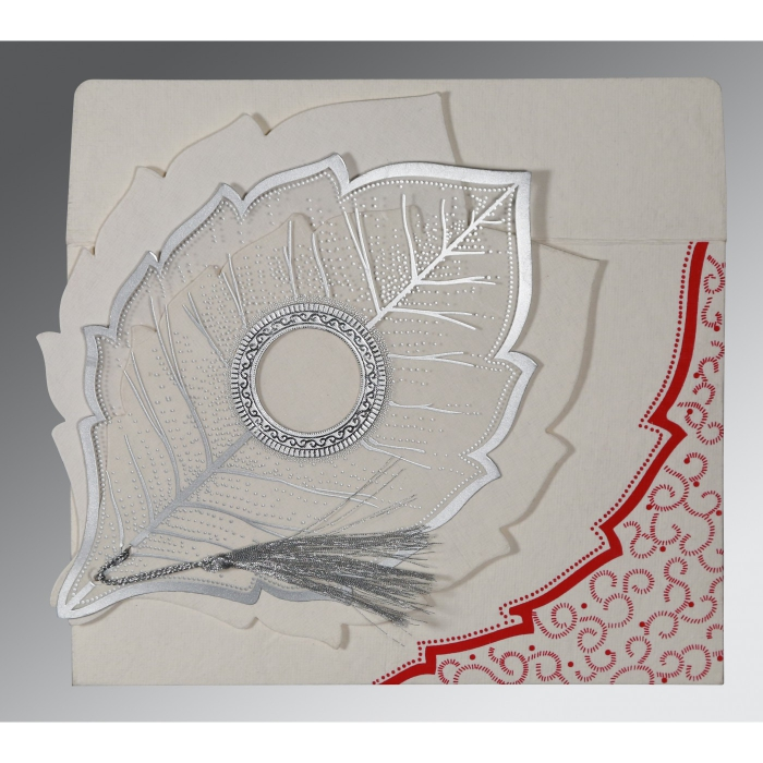 Ivory Handmade Cotton Floral Themed - Foil Stamped Wedding Card : D-8219L - 123WeddingCards