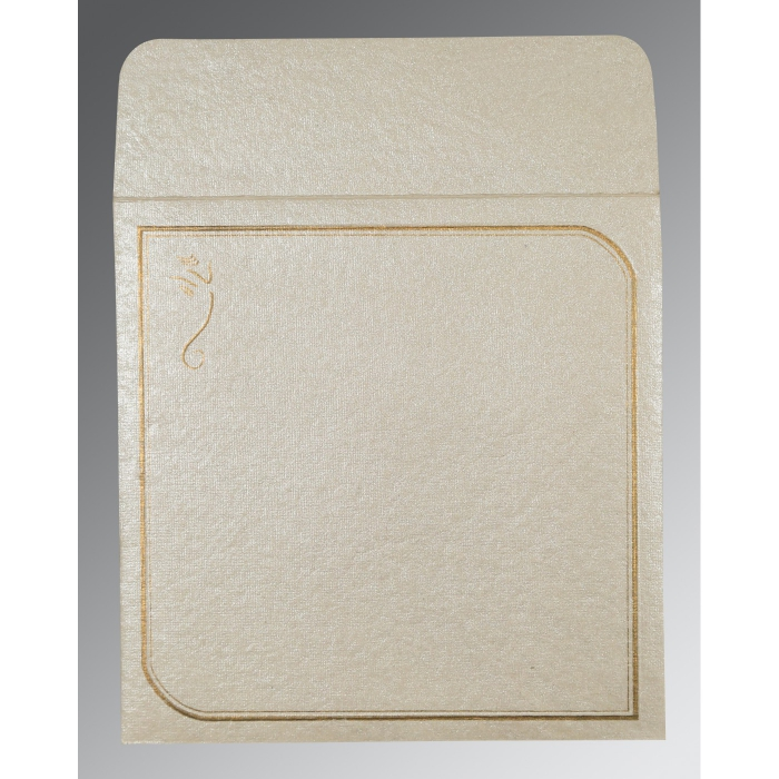 Ivory Handmade Shimmer Foil Stamped Wedding Card : IN-2235 - 123WeddingCards