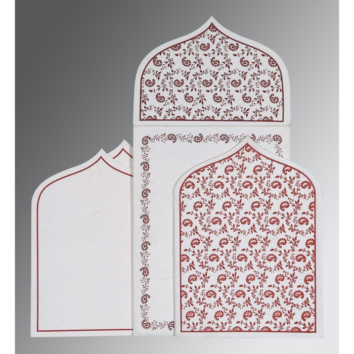 Ivory Handmade Silk Paisley Themed - Glitter Wedding Invitation : IN-8208I - 123WeddingCards