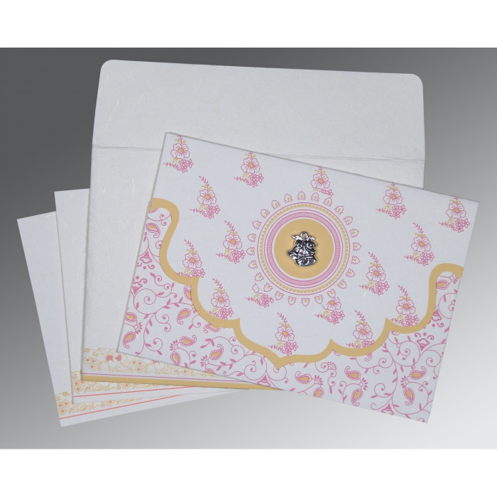 Ivory Handmade Silk Screen Printed Wedding Invitations : C-8207I - 123WeddingCards