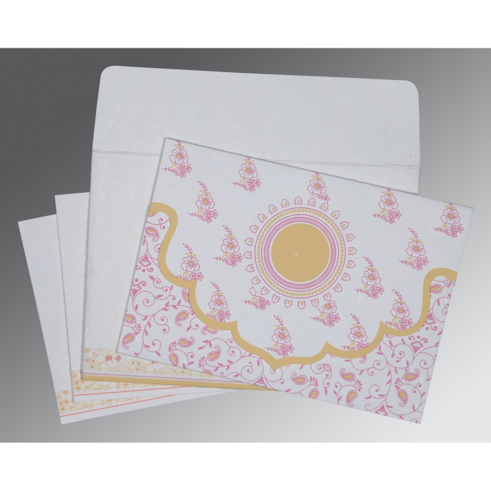 Ivory Handmade Silk Screen Printed Wedding Invitation : D-8207I - 123WeddingCards