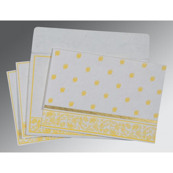 Ivory Handmade Silk Screen Printed Wedding Card : RU-8215H - 123WeddingCards