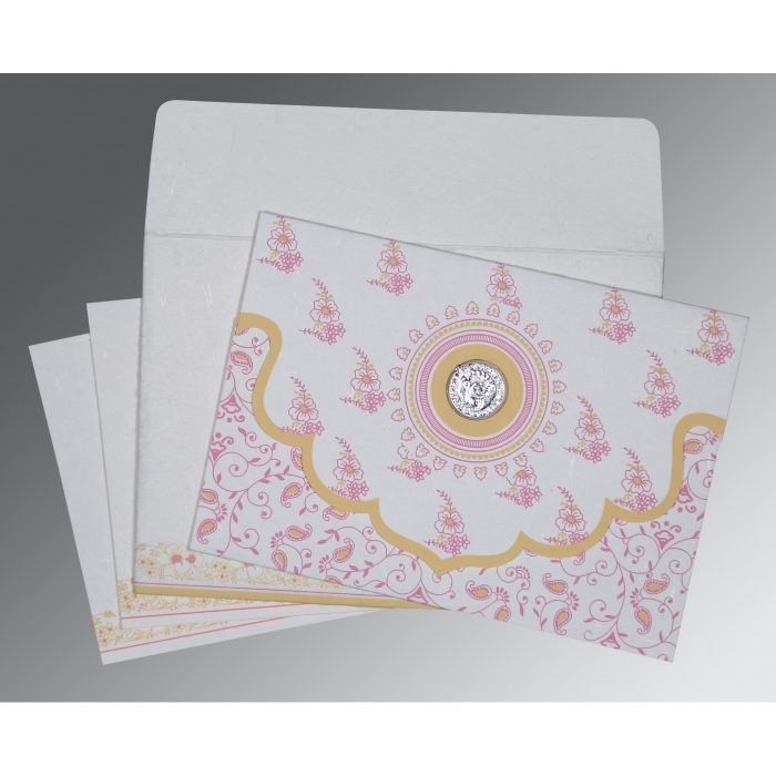 Ivory Handmade Silk Screen Printed Wedding Invitations : S-8207I - 123WeddingCards