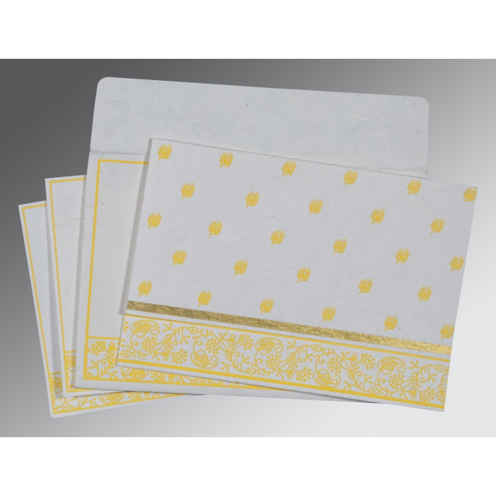 Ivory Handmade Silk Screen Printed Wedding Invitations : S-8215H - 123WeddingCards
