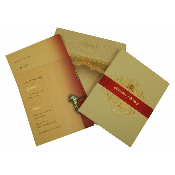 Ivory Matte Box Themed - Foil Stamped Wedding Invitation : W-1828 - 123WeddingCards