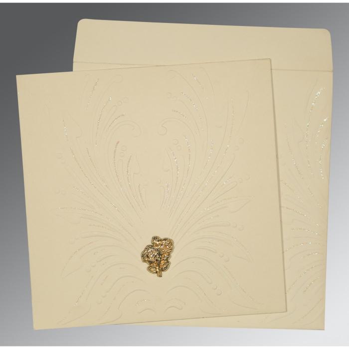 Ivory Matte Embossed Wedding Invitation : C-1188 - 123WeddingCards
