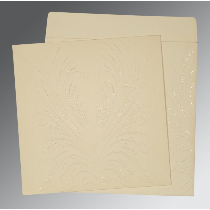 Ivory Matte Embossed Wedding Invitation : D-1188 - 123WeddingCards