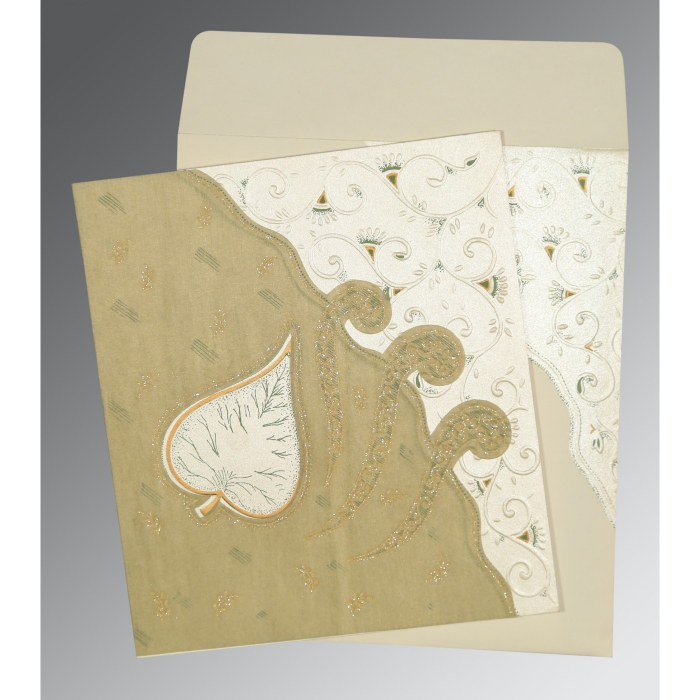 Ivory Matte Embossed Wedding Invitations : D-1197 - 123WeddingCards