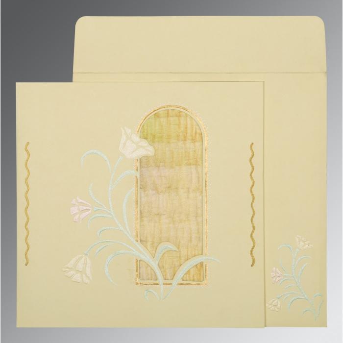 Ivory Matte Embossed Wedding Card : D-1203 - 123WeddingCards