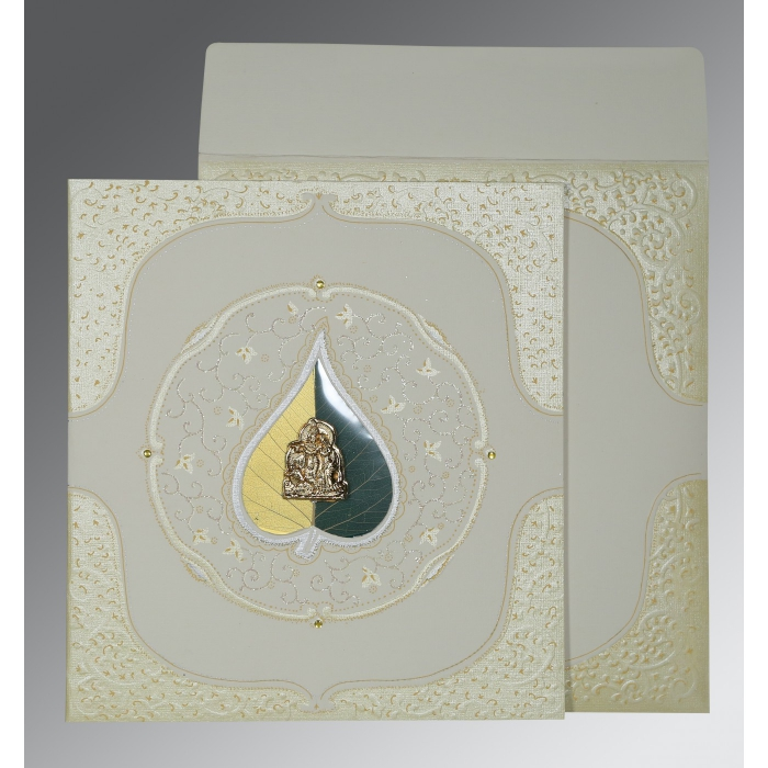 Ivory Matte Embossed Wedding Card : G-1153 - 123WeddingCards