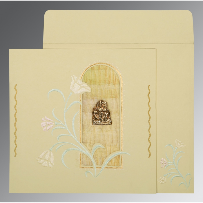 Ivory Matte Embossed Wedding Card : G-1203 - 123WeddingCards