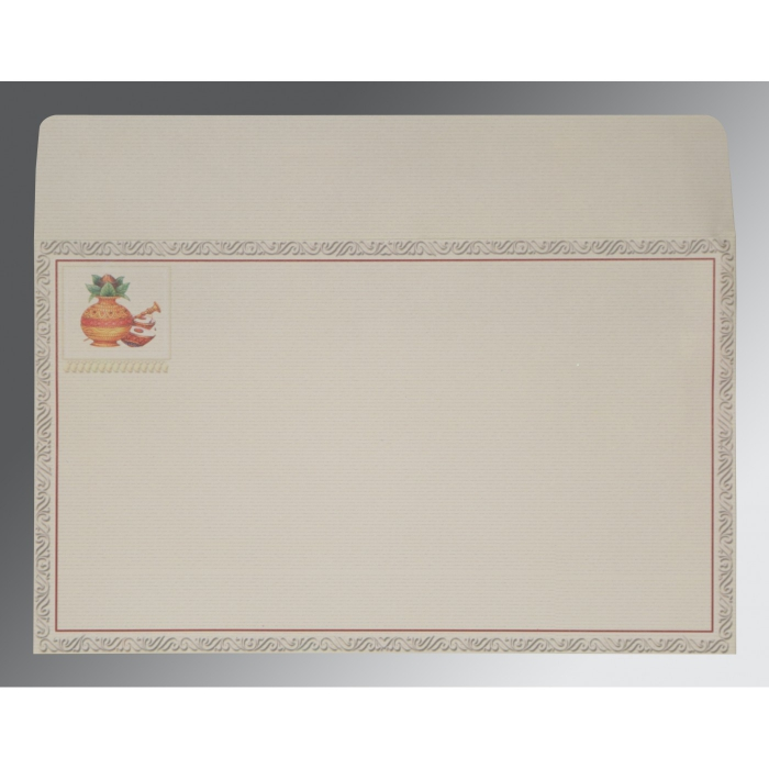 Ivory Matte Embossed Wedding Card : IN-2077 - 123WeddingCards