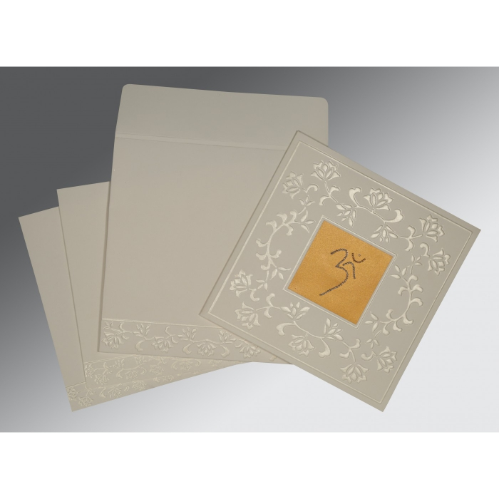 OFF-WHITE MATTE EMBOSSED WEDDING INVITATION : IN-2238 - 123WeddingCards