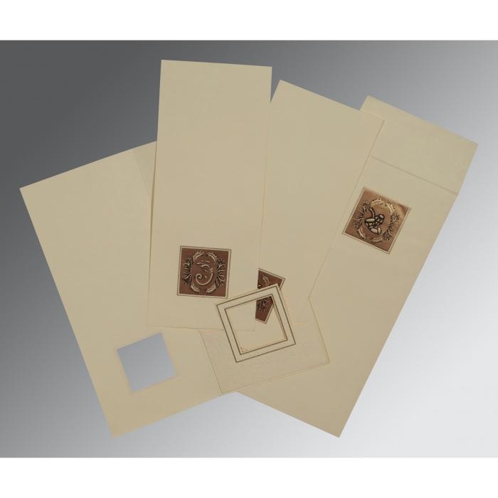 Ivory Matte Embossed Wedding Card : IN-2276 - 123WeddingCards
