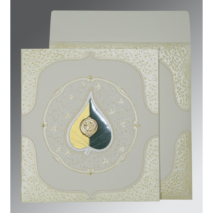 Ivory Matte Embossed Wedding Card : S-1153 - 123WeddingCards