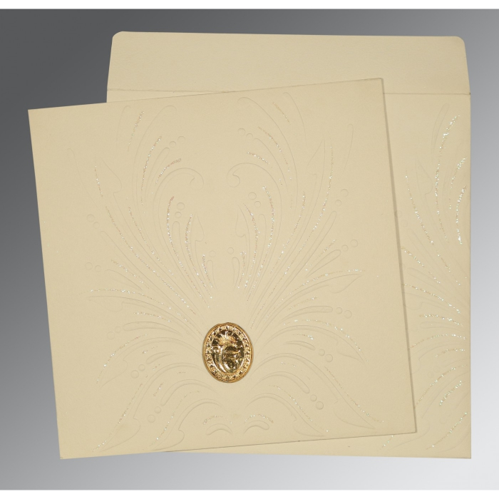 Ivory Matte Embossed Wedding Invitation : S-1188 - 123WeddingCards