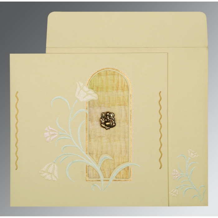 Ivory Matte Embossed Wedding Card : W-1203 - 123WeddingCards