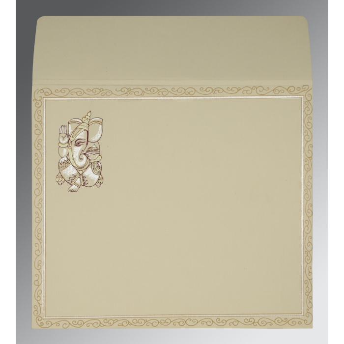 Ivory Matte Embossed Wedding Invitations : W-2005 - 123WeddingCards