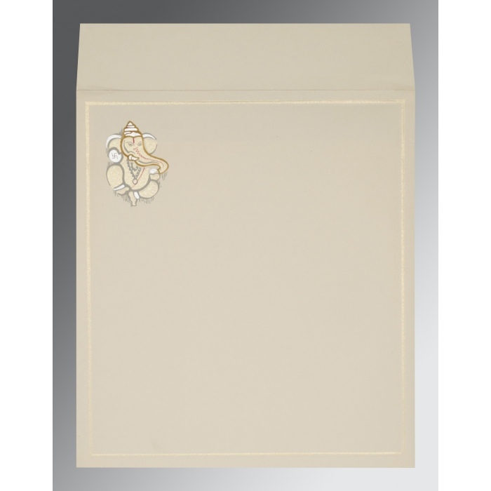 OFF-WHITE MATTE EMBOSSED WEDDING INVITATION : W-2068 - 123WeddingCards