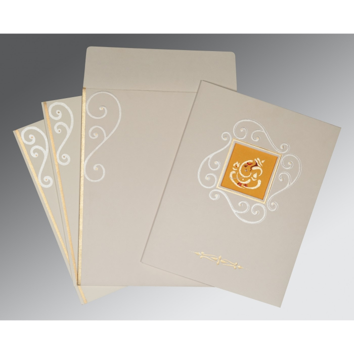 OFF-WHITE MATTE EMBOSSED WEDDING INVITATION : W-2116 - 123WeddingCards