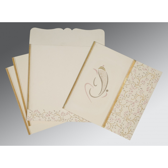 OFF-WHITE MATTE EMBOSSED WEDDING INVITATION : W-2153 - 123WeddingCards