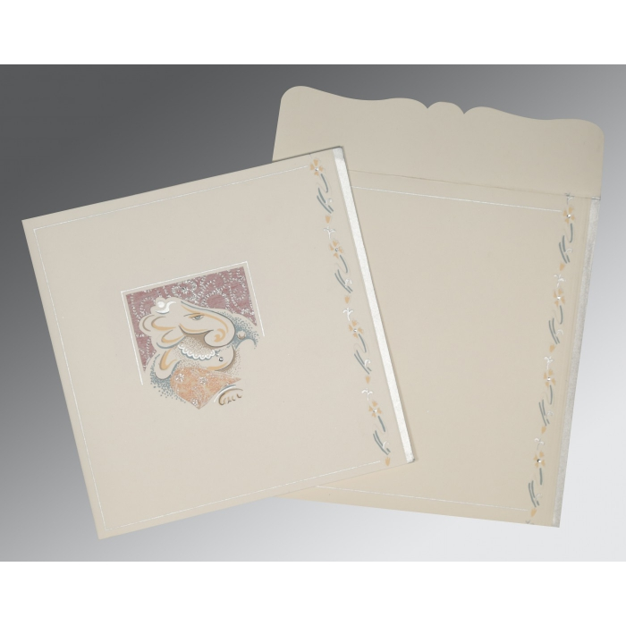OFF-WHITE MATTE EMBOSSED WEDDING CARD : W-2154 - 123WeddingCards