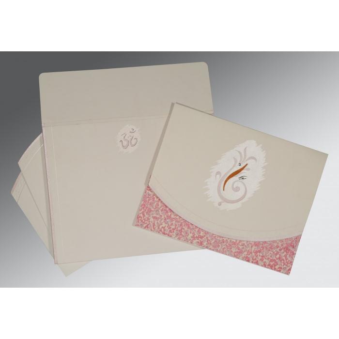 OFF-WHITE MATTE EMBOSSED WEDDING INVITATION : W-2163 - 123WeddingCards