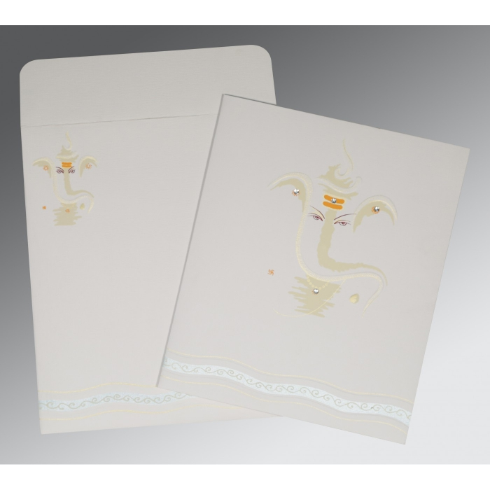 OFF-WHITE MATTE EMBOSSED WEDDING CARD : W-2169 - 123WeddingCards