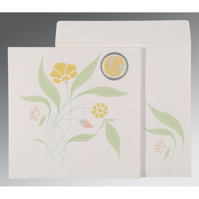 OFF-WHITE MATTE FLORAL THEMED - EMBOSSED WEDDING INVITATION : D-1114 - 123WeddingCards