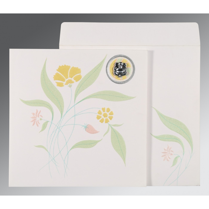 Ivory Matte Floral Themed - Embossed Wedding Invitations : W-1114 - 123WeddingCards