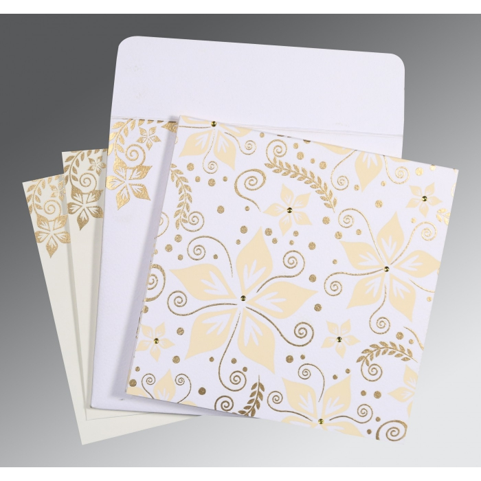 Ivory Matte Floral Themed - Screen Printed Wedding Invitations : G-8240D - 123WeddingCards