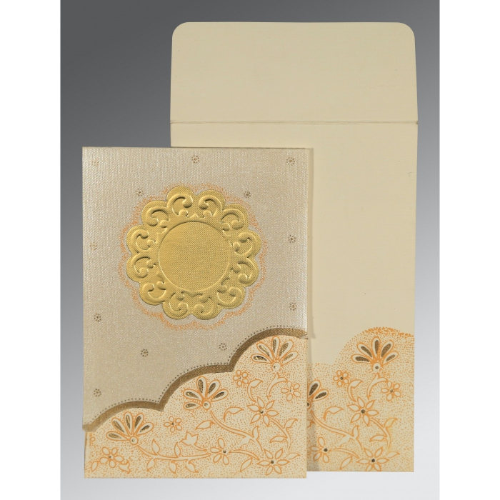BEIGE MATTE FLORAL THEMED - SCREEN PRINTED WEDDING CARD : W-1183 - 123WeddingCards