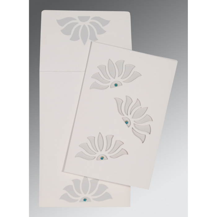 OFF-WHITE MATTE FLORAL THEMED - SCREEN PRINTED WEDDING INVITATION : W-1254 - 123WeddingCards