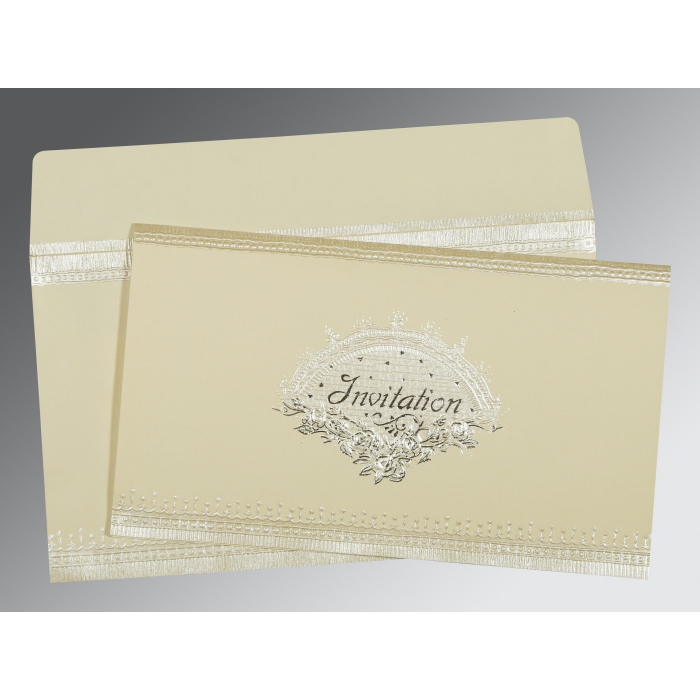 Ivory Matte Foil Stamped Wedding Invitation : D-1338 - 123WeddingCards